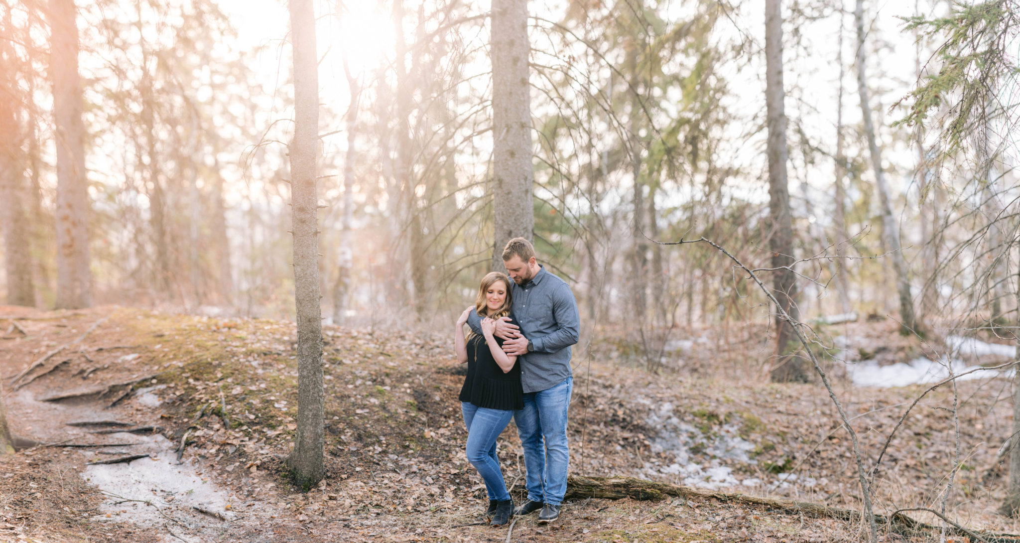 Beautiful sunset engagement photography session in Downtown Edmonton at sunset